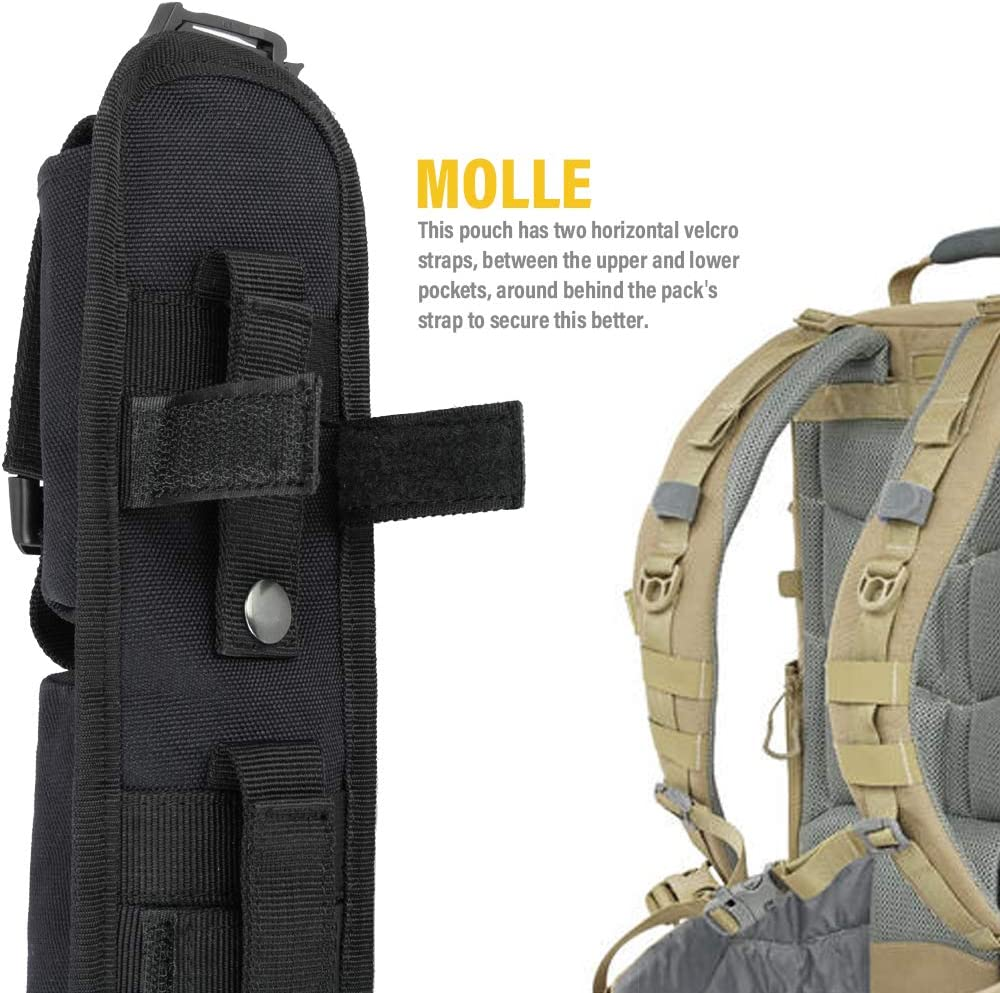 2x Tactical Molle Backpack/'s Shoulder Strap Bag Tool Pouch Hunting Outdoor Black