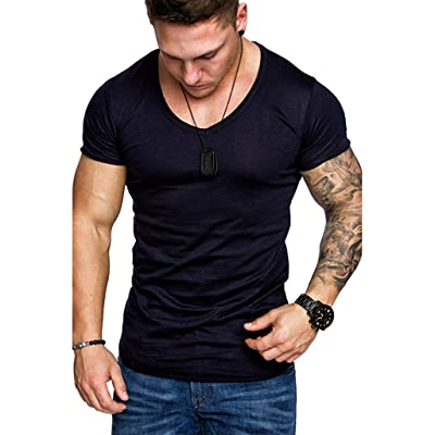 USStore Men's T-Shirt Short Sleeve Normal Essential Fashion Summer Casual V-Neck Muscle Slim Handsome Sports Simple Top: Clothing