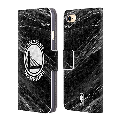 Official NBA B&W Marble Golden State Warriors Leather Book Wallet Case Cover For Apple iPhone 7 / 8 - State Leather Iphone Case