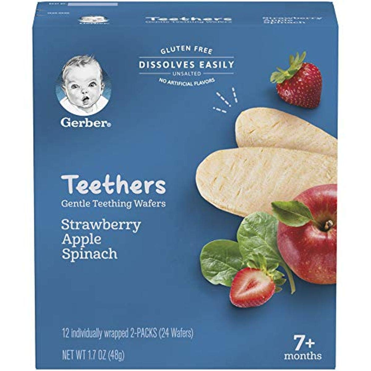 Gerber Teethers Gentle Teething Wafers, 6 Count, Strawberry Apple Spinach, 20.4 Oz