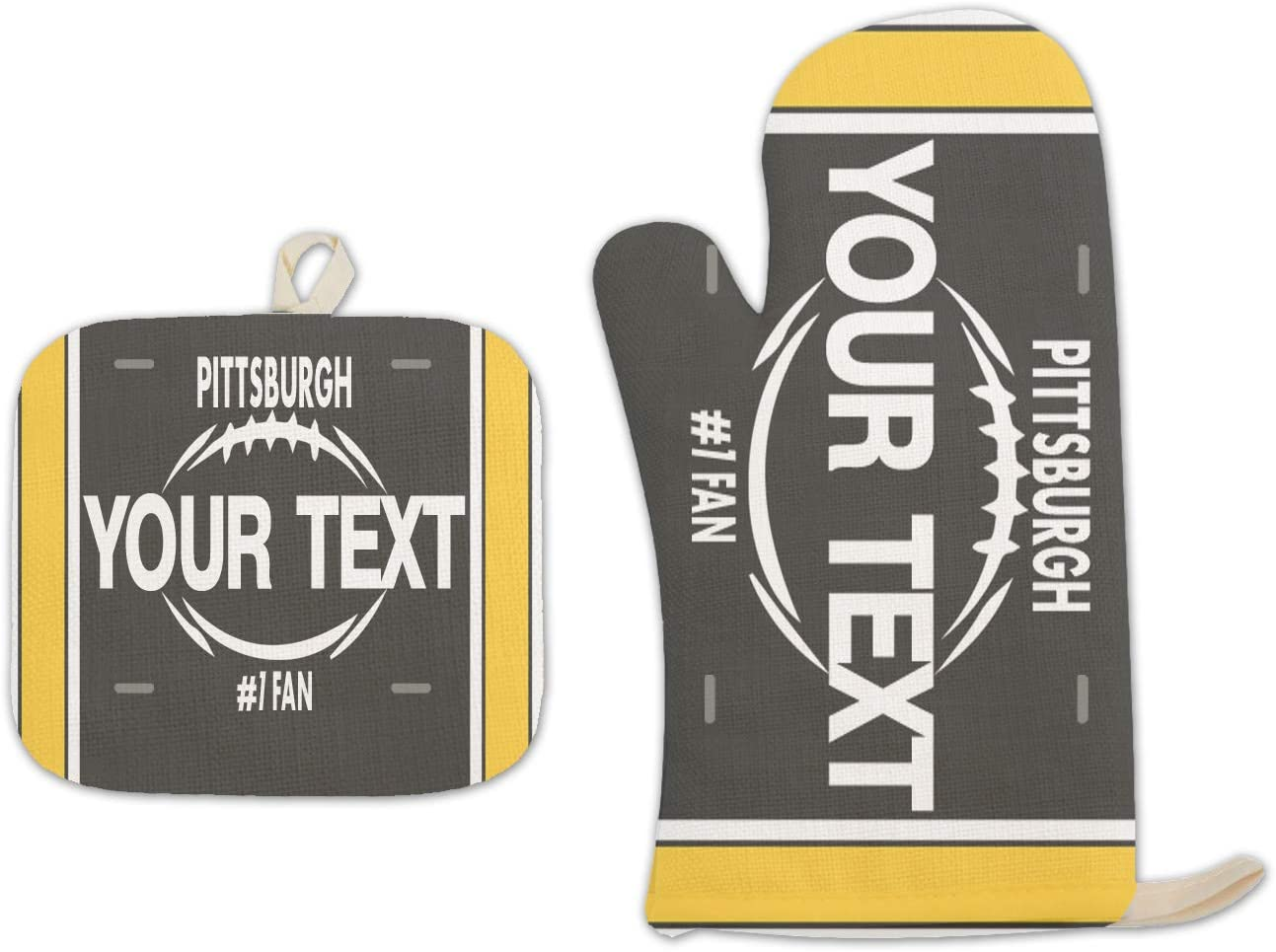 Bleu Reign BRGiftShop Personalized Custom Name Football Team Pittsburgh Linen Oven Mitt and Potholder Set