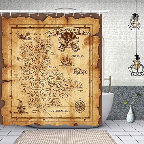 NYMB Nautical Island Map Decor, Vintage Old Map Pirate Ship Bath Curtain 69X70 inches Polyester Fabric Ocean Ancient Pirate Treasure Map Shower Curtains Fantastic Decorations (Treasure Shower Map Curtain)