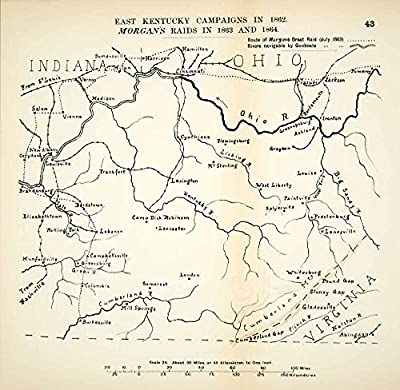 1910 Lithograph Map Kentucky Campaign Morgan Raid American Civil War Union CWM1 - Original Lithographed Map