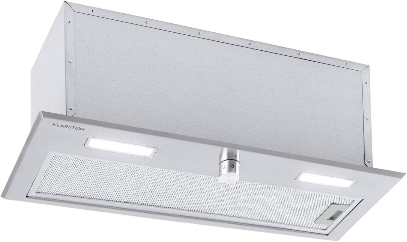 Klarstein Simplica 70 campana extractora - 70 cm de ancho, extracción de 400 m³/h, función de ventilación, botón giratorio, 3 niveles, iluminación LED de 1,5 W, acero inoxidable