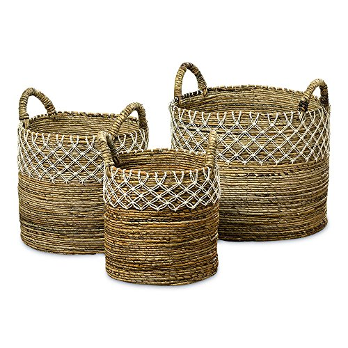 The Romantic Hippy Chic Baskets, Set of 3, Cotton Macrame Lace Details, Relaxed Coastal Style, Woven Chunky Banana Leaf, Thick Handles,17 3/4, 15, and 11 3/4 D Inches, By Whole House Worlds (Banana Leaf Baskets)