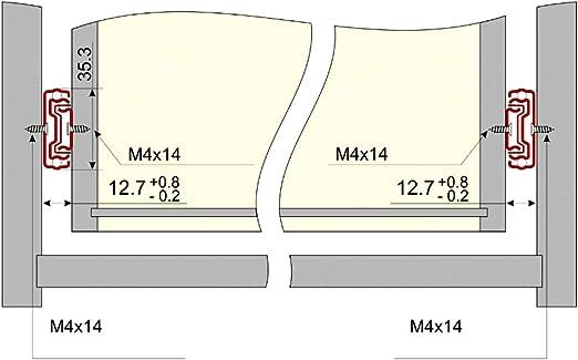 Par de gu/ías correderas con rodamiento de bolas para cajones 30cm//35mm 25kg C41017 AERZETIX