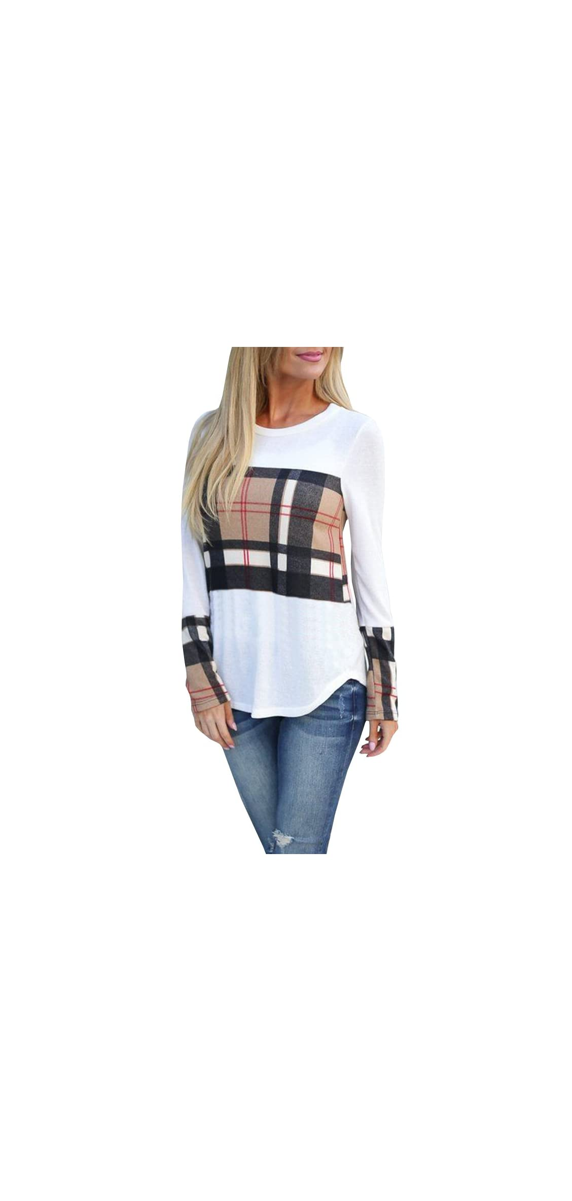 Womens Long Sleeve Buffalo Plaid T Shirts Casual Loose