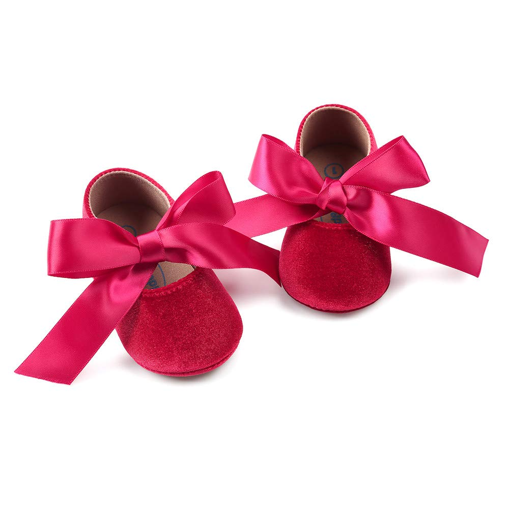 Baby Girl Infant Princess Velvet Shoes Bowknot Fashion Toddler First Walkers Anti-Slip Shoes
