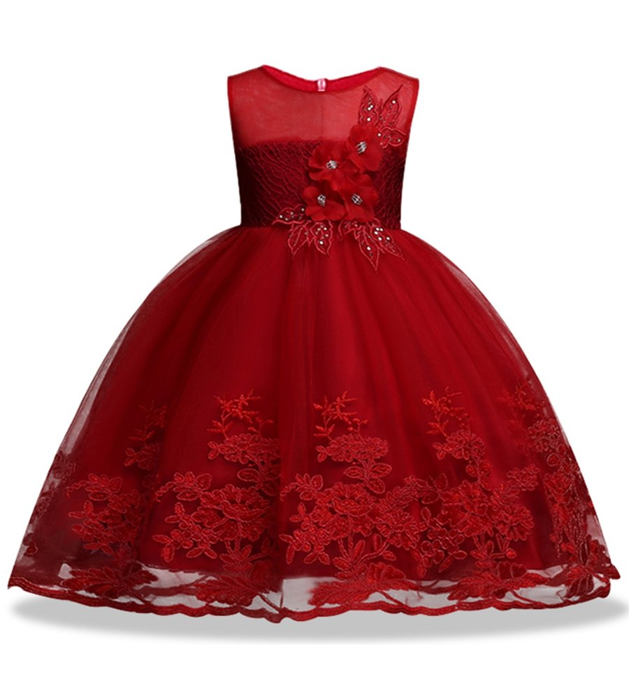 KISSOURBABY Girls Bridesmaid Dresses 10-12 Tutu Dresses Spring Sleeveless Party Toddler Girls Dress Sizes 7-16 Wedding Princess Special Occasions (2Red 100)