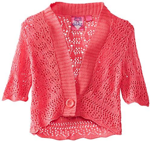 UPC 758116842815, Derek Heart Big Girls' Elbow Sleeve Pointelle Sweater Cardigan, Pink, Medium