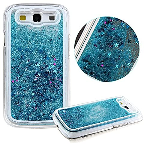 Galaxy S3 Case,Galaxy S3 Liquid Case,UZZO Plastic Transparent Clear Creative 3D Funny Cute Quicksand Flowing Liquid Bling Glitter Sparkle Stars Clear Hard Back Case Cover for Samsung Galaxy S3 (Galaxy S3 Phone Cases Samsung)