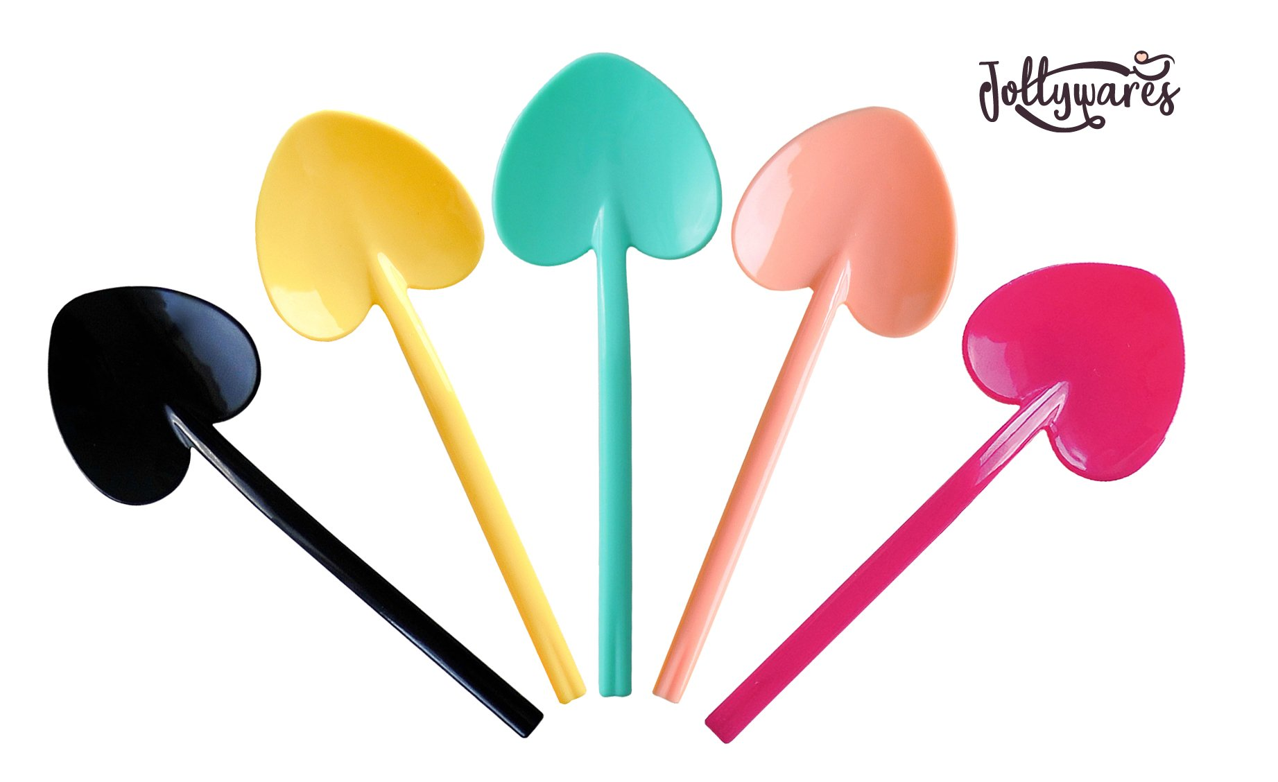 Jollywares 3.5'' Love Heart-Shaped Disposable Mini Plastic Tasting Spoons (Mixed Colors)(1 Pack of 180 pcs)