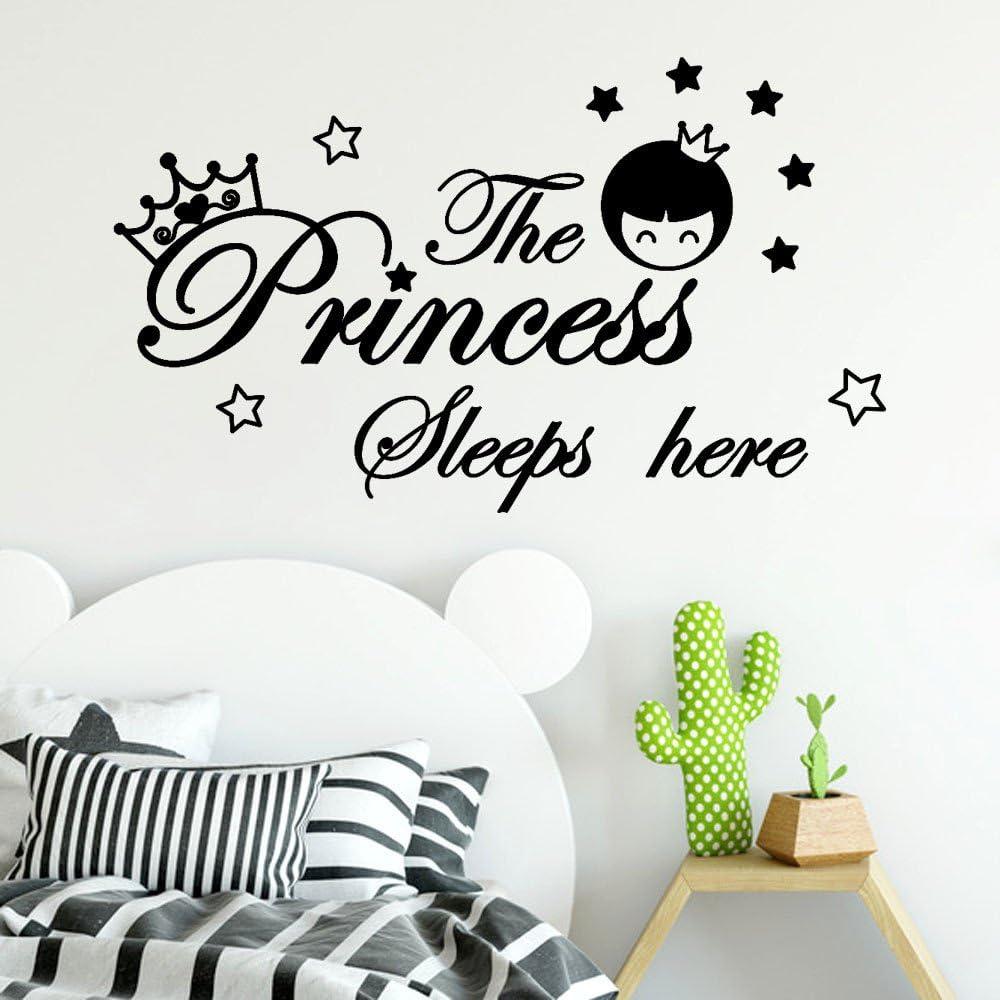Mimihuhu La Princesse Dort Ici Autocollant Mural 6139 Stickers Chambre DEnfant D/éCoration De La Maison Noir