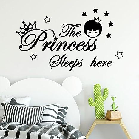 Scritte Adesive Muro.Topgrowth Adesivi Murali Bambini Scritte Adesive Per Pareti The Princess Sleeps Here Stickers Murali