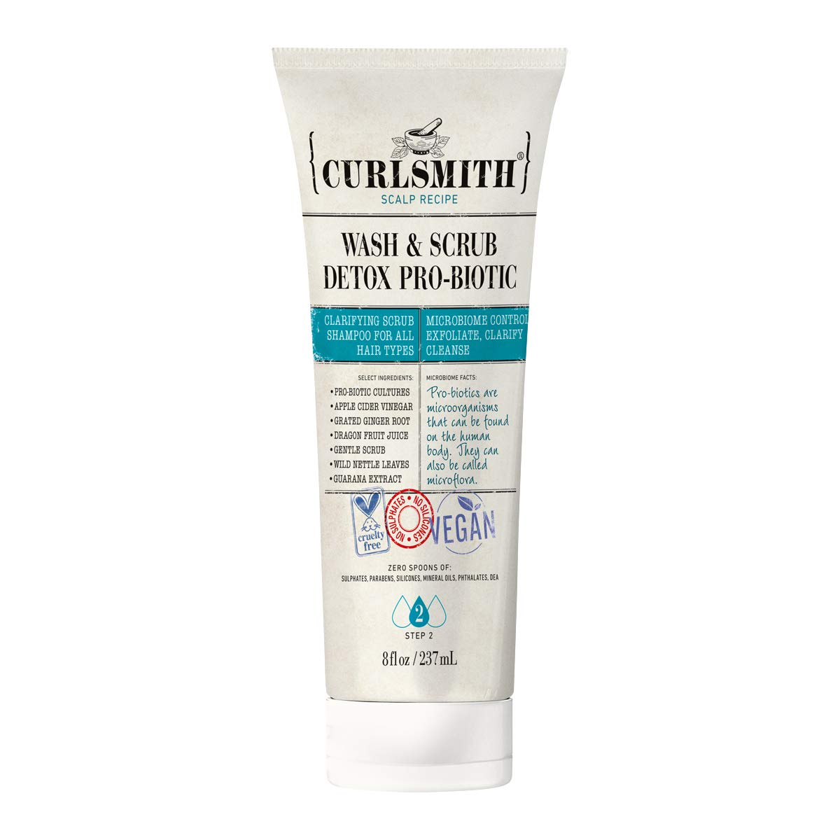 Curlsmith - Wash & Scrub Detox Pro-Biotic - Vegan Exfoliating Clarifying Shampoo for any Hair Type, Healthy Scalp (8oz)