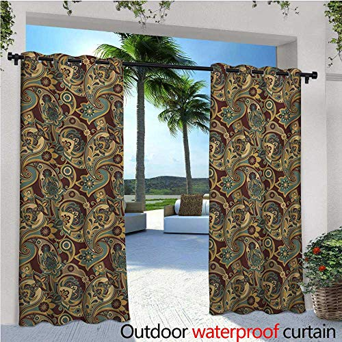homehot Paisley Exterior/Outside Curtains Iranian Hippie Themed Spiritual Textured Floral Ornament Persian Artwork for Patio Light Block Heat Out Water Proof Drape W72 x L84 Chocolate Sand Brown -