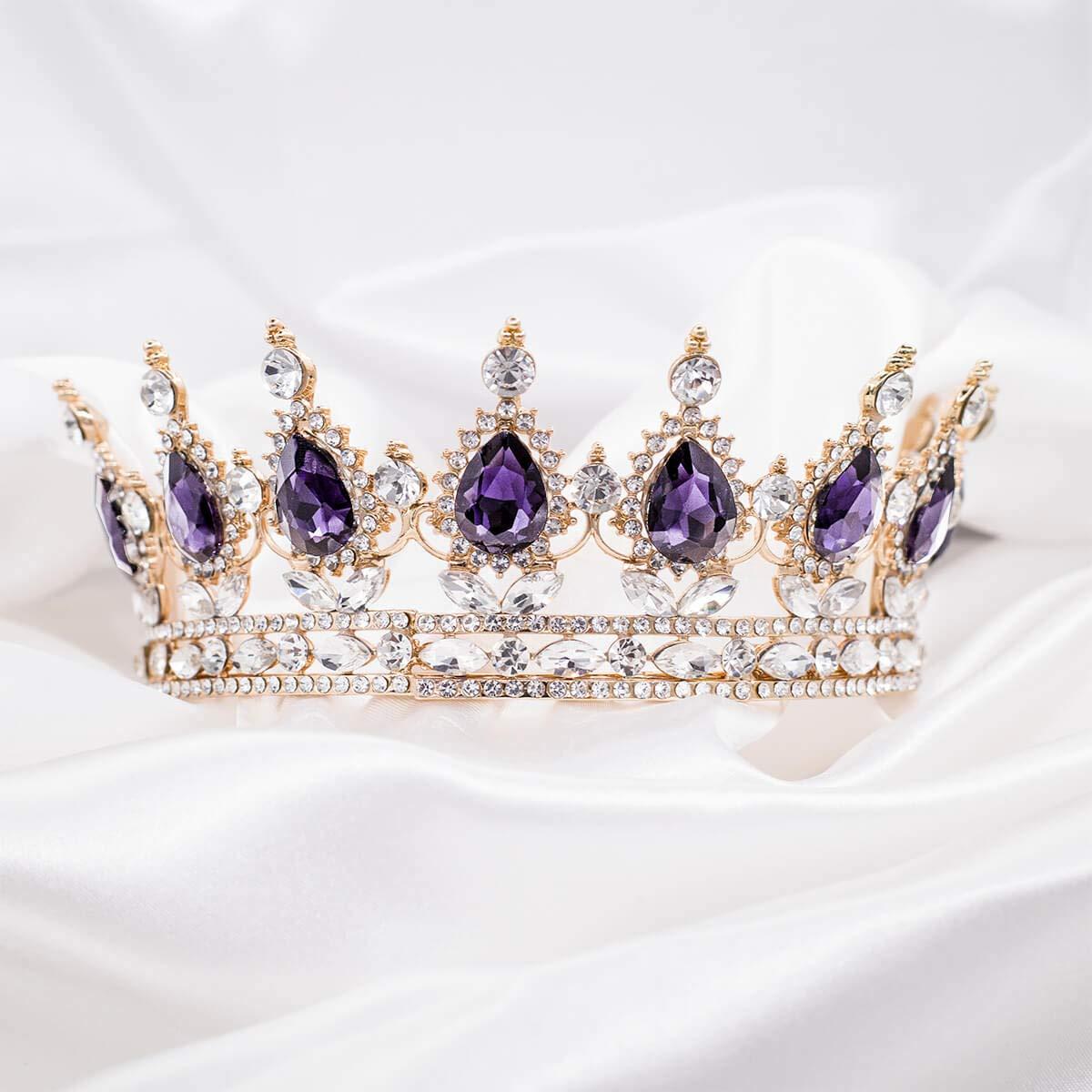 New purple Color Crystal High Quality Metal peacock headband