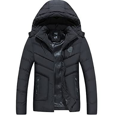 INFLATION Mens Thickened Puffer Jacket Winter Padded Parka Coat Jacket with  Detachable Hooded Outerwear for Men 50f05b61b