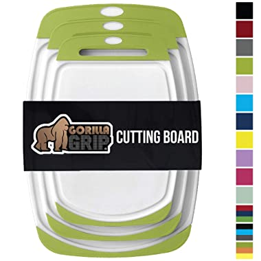 Gorilla Grip Original Reversible Cutting Board, 3 Piece, BPA Free, Juice Grooves, Larger Thicker Boards, Easy Grip Handle, Dishwasher Safe, Non Porous, Extra Large, Kitchen, Set of 3, Lime Green