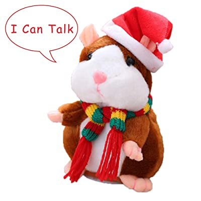 Eocolz Talking Hamster Repeats What You Say Mimicry Pet Plush Buddy Electronic Mouse Interactive Toy Funny Kids Stuffed Toys Children Early Learning for Girl and Boy (Brown): Toys & Games