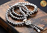 BOCX Outdoor Self Defense 108 Buddha Beads Hand Made Stainless Steel Alloy Material Necklace Chain...