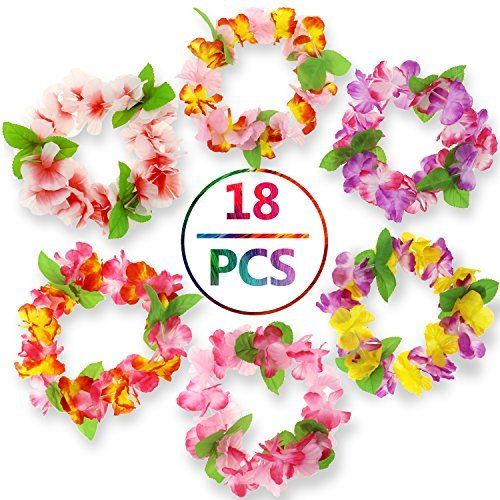 Philonext Hawaii Wreaths Leis, Hawaiian Headband, Hawaiian Ruffled Simulated Silk Flower Leis Artificial Flowers Necklaces Headband Neck Ring for Luau Party Home Decoration Supplies