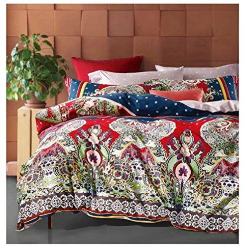 Bohemian Duvet Cover Striped Ethnic Boho Reversible Paisley Pattern Cotton Bedding 3 Piece Set Colorful Modern Hippie Style (King, Caliente)