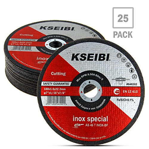 KSEIBI 646202 7-Inch by 1/16-Inch Metal and Stainless Steel Inox Cutting Disc Ultra Thin Flat Cut Off Wheel, 7/8-Inch Arbor, (Metal Thin Cutting Wheel)