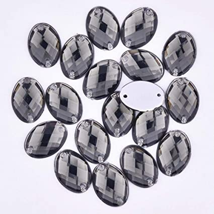 44accee6a9 Amazon.com: 1318mm Sewing Mix Color Crystal Rhinestone Oval Strass ...
