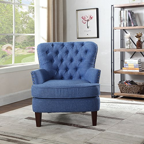 NHI Express 92005-16BL Button Tufted Chair Not Applicable, 31 W x 35 D x 37.5 H, Blue
