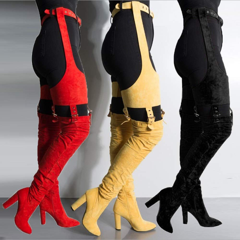 f72fcda35bb Amazon.com  Tall Boots High Strap Zip Heel Boots Winter Boots Over The Knee  High Heel Boots  Clothing