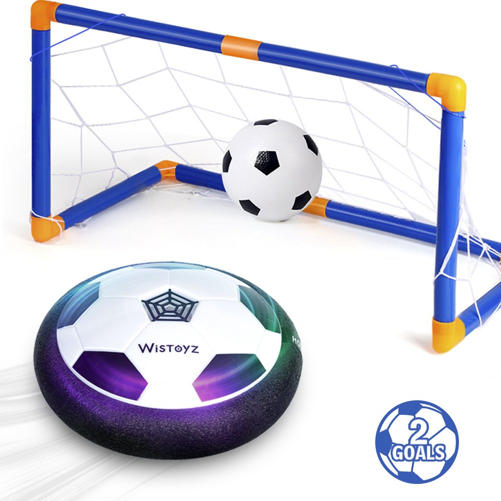 Kids Toys Hover Soccer Ball Set with 2 Goals, Air Soccer with Led Light, Excellent Time Killer for Boys/Girls, Hovering Soccer Ball with Foam Bumper for Indoor Games, an Inflatable Ball Included by WisToyz