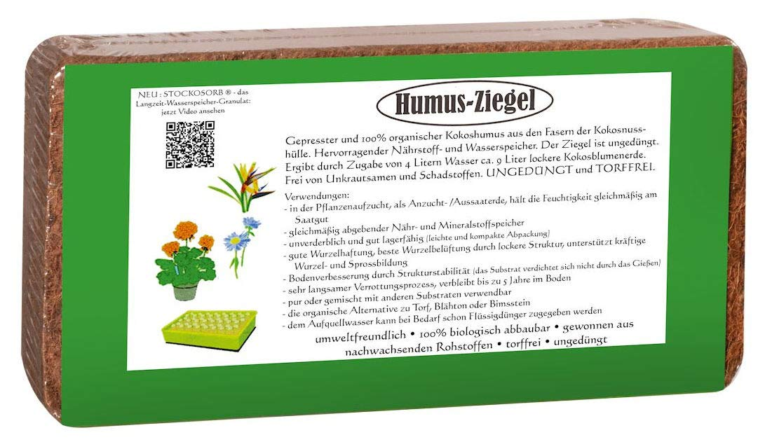 10 x 650 g Light Torffreie Potting Soil Coconut Soil Humus Brick Briquette Coconut Fibre Substrate Potting Soil Coconut Potting Soil Seed Sowing Compost Planting Soil Coconut Humus for Table and Flower Box