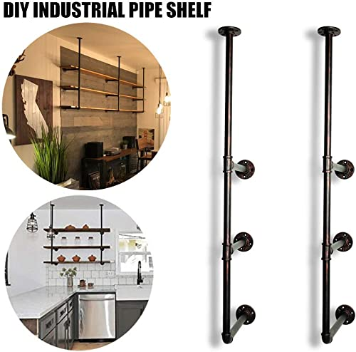 GoYonder Industrial Wall Mounted Iron Pipe Shelf, Retro Bookcases Rustic Hung Bracket DIY Storage Shelving Bookshelf Utility Shelves Black, 2 pcs
