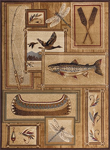 Trout Fishing Novelty Lodge Pattern Ivory Rectangle Area Rug, 5' x 7'