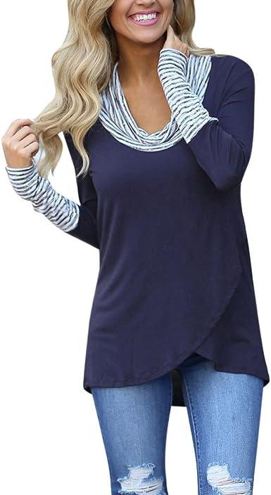 SHOBDW Mujeres Retro O-Cuello Franja de Manga Larga Sudadera Jersey Tops Blusa Camisa (Azul, M)