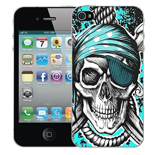 Mobile Case Mate iPhone 4 4s clip on Dur Coque couverture case cover Pare-chocs - blue hanging skull Motif