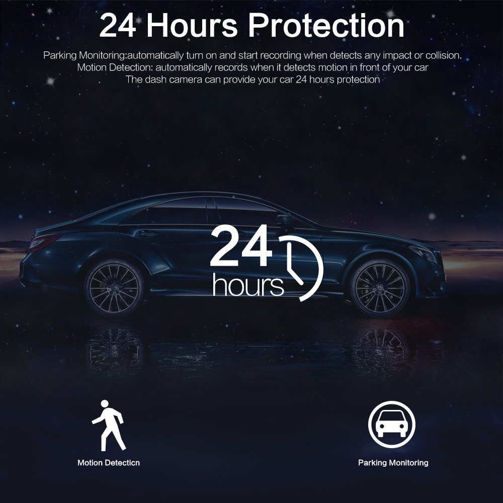 HQBKING Dashcam 1080P FHD Dashboard Kamera Auto Fahren Recorder mit 170 Weitwinkel Nachtsicht Bewegungserkennung Parkplatz /Überwachung G-Sensor und 3 Zoll LCD