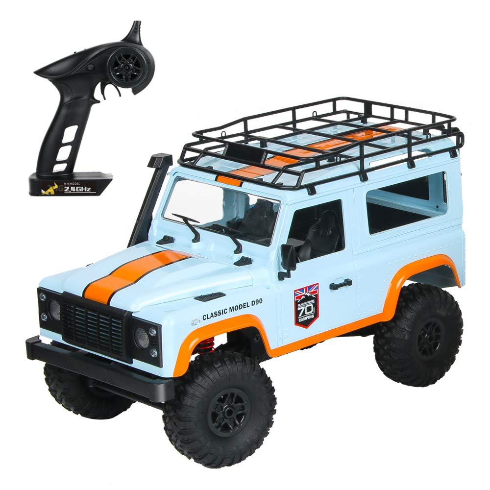 Bleu Batterie unique Yiwa RC Voiture Jouet de chenille de MN-99 2.4G 1 12 4WD RTR pour le modèle de véhicule de Land Rover 70 Anniversary Edition bleu Single battery