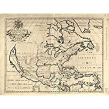 Vintage 1722 Map of North America shewing its principal divisions, chief cities, townes, rivers, mountains &c. North America, North American
