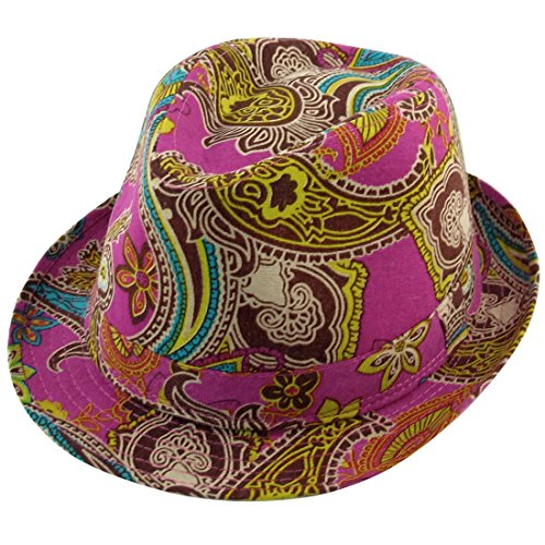 Allegra K Man Woman Summer Outdoor Paisley Print Fuchsia Fedora Trilby Hat Cap