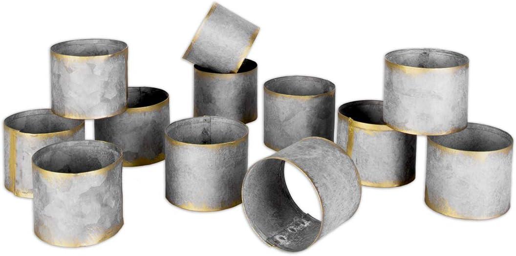 Christmas Bulk Set of 12 Napkin Holders Koyal Wholesale Galvanized Metal Napkin Rings Thanksgiving Farmhouse Style Napkin Ring Metal Bands for Wedding Restaurant and Home Table Settings