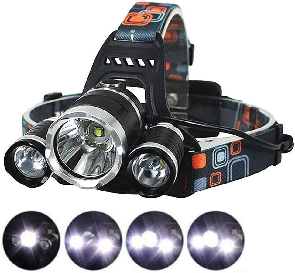 LED Camping Headlamp Fishing Flounder Frog Gigging Light Equipment Ultra Bright 3xCREE XM-L T6 LED Focus Waterproof Headlight with Rechargeable Batteries Headlamp for Hiking Camping Climbing Hunting