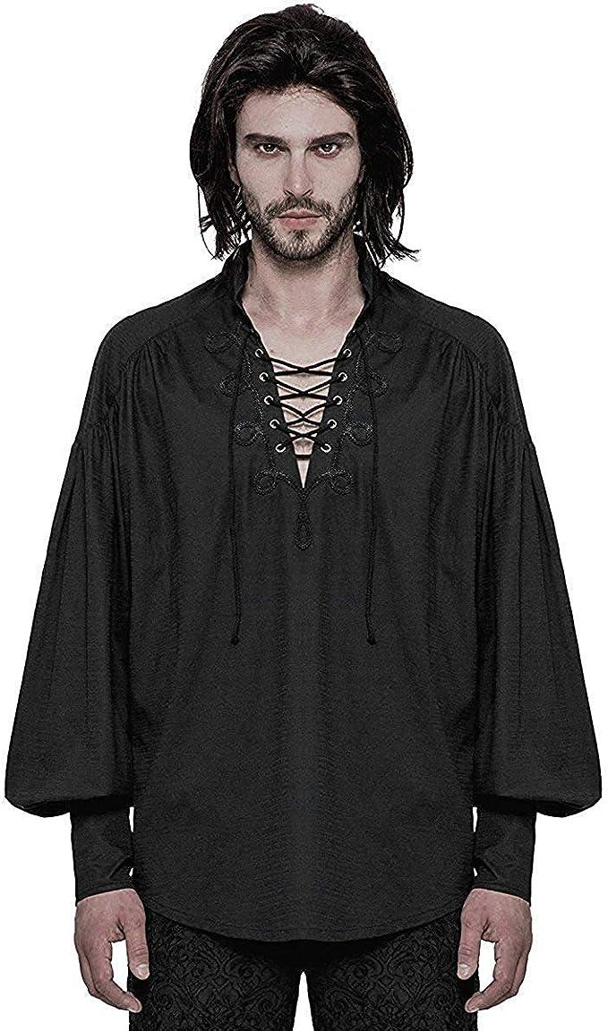 Punk Rave Hombre Steampunk Camiseta Pirata Top Negro Gótico Poeta Vintage Medieval Cordones: Amazon.es: Ropa y accesorios