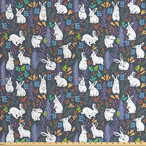 Lunarable Rabbit Fabric by The Yard, White Bunnies, used for sale  Delivered anywhere in USA