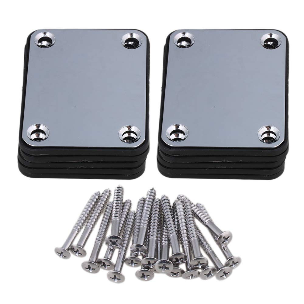Lovermusic Chrome Metal Guitar Square Neck Plate Replacement with Screws Pack of 10