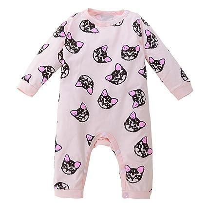 chshe bebé Pelele bebé recién nacido infantil cartoon pink-ears gatos patrones mezcla de algodón