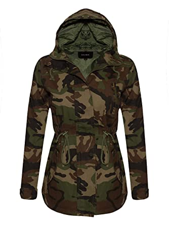 dcaa7f9951c43 Instar Mode Women s Anorak Safari Hoodie Jacket up to Plus Size Brown Camo S