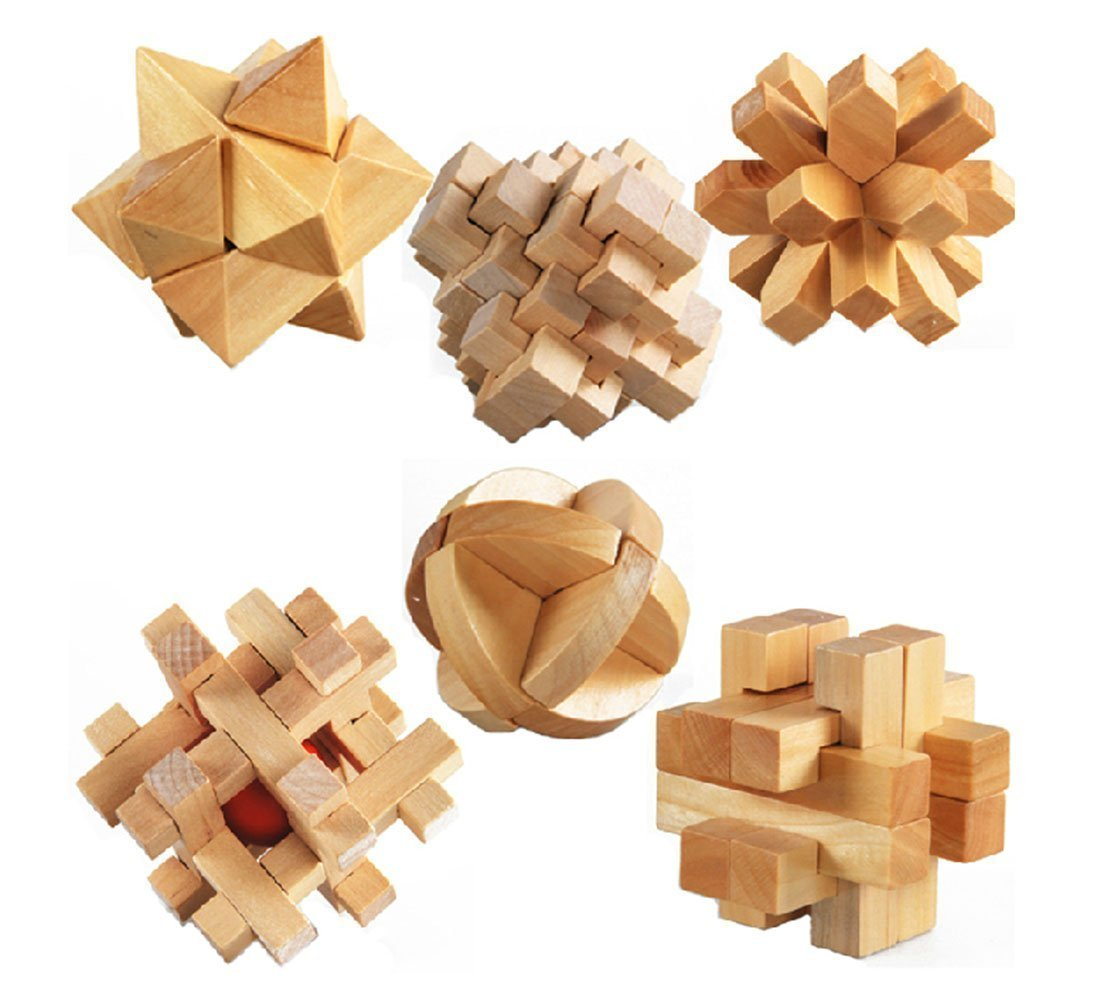 3D Wooden Cube Brain Teaser Jigsaw Lock Puzzle Educational Toy Gift for Kids and Adults, 6-piece Set Shifashion SH-0399