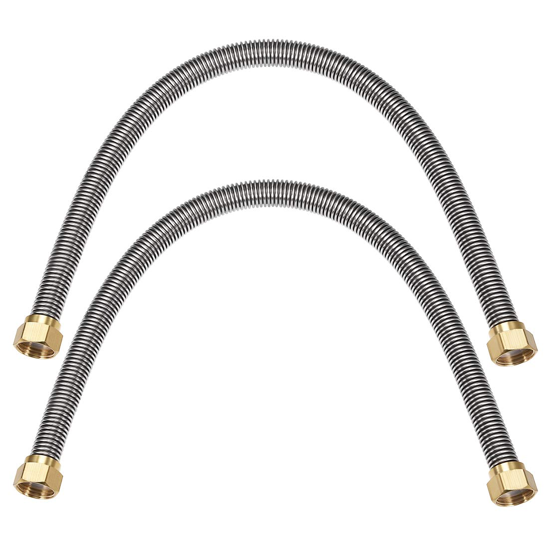 uxcell Corrugated Stainless Steel Flexible Water Line 23.6inch Length G1/2 Female Threaded Connector with Washer, 2pcs by uxcell (Image #1)